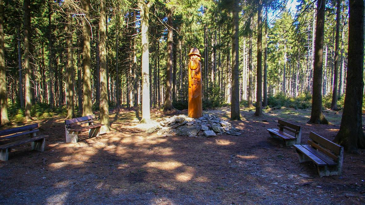"""Der """"Wilde Mann"""" im Wald bei Geyer. Foto: Chris Bergau"""
